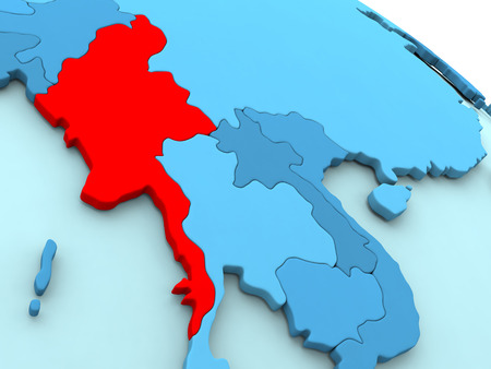 burmese: 3D illustration of Myanmar highlighted in red color on blue globe Stock Photo