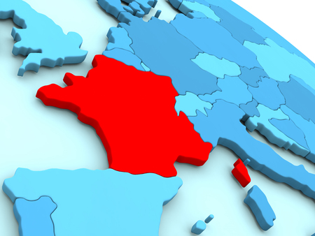 francaise: 3D illustration of France highlighted in red color on blue globe