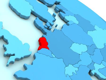 nederland: 3D illustration of Netherlands highlighted in red color on blue globe Stock Photo