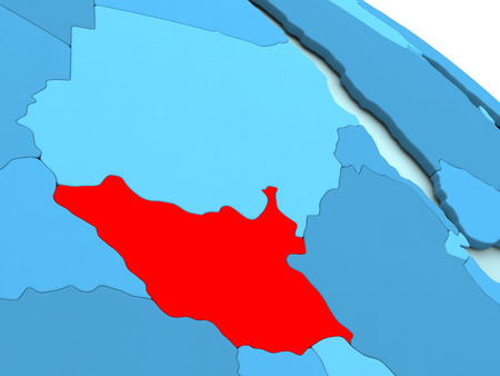diplomacy: 3D illustration of South Sudan highlighted in red color on blue globe