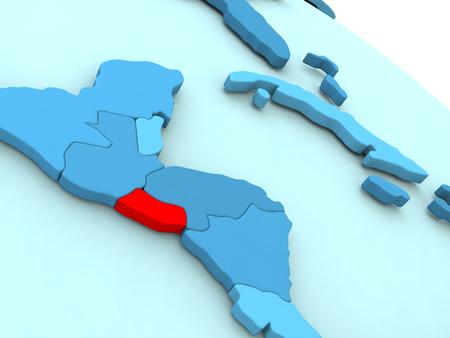 mapa de el salvador: 3D illustration of El Salvador highlighted in red color on blue globe
