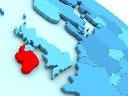 irish map: 3D illustration of Ireland highlighted in red color on blue globe
