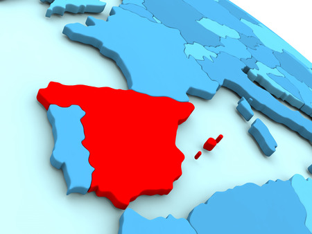 3D illustration of Spain highlighted in red color on blue globe Stock Photo