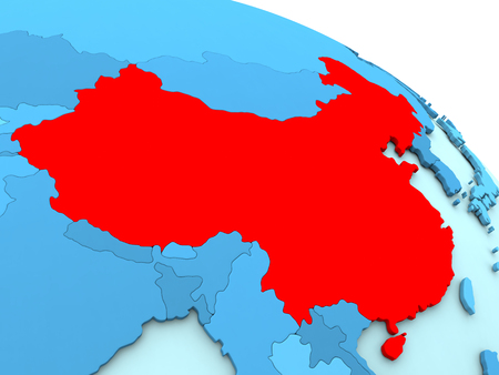 diplomacy: 3D illustration of China highlighted in red color on blue globe