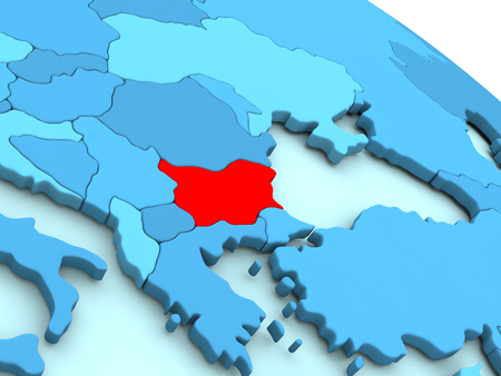 3D illustration of Bulgaria highlighted in red color on blue globe