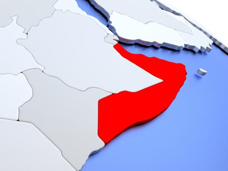 diplomacy: Map of Somalia on elegant silver 3D globe with blue oceans. 3D illustration Stock Photo