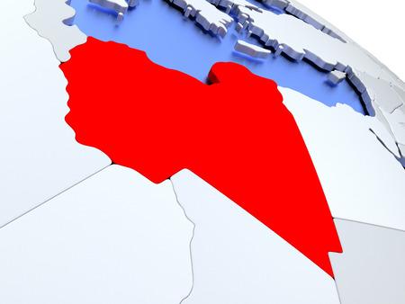 Map of Libya on elegant silver 3D globe with blue oceans. 3D illustration Stock Photo