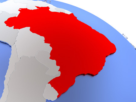 federative republic of brazil: Map of Brazil on elegant silver 3D globe with blue oceans. 3D illustration