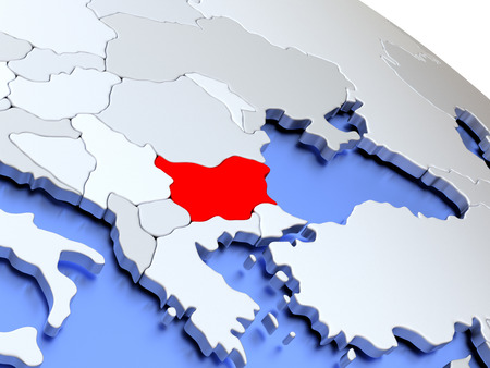 Map of Bulgaria on elegant silver 3D globe with blue oceans. 3D illustration