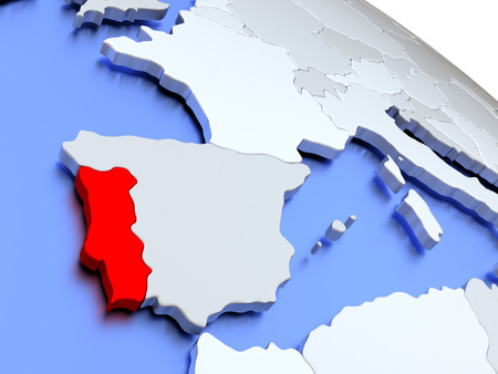 diplomacy: Map of Portugal on elegant silver 3D globe with blue oceans. 3D illustration Stock Photo