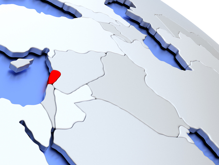 lebanese: Map of Lebanon on elegant silver 3D globe with blue oceans. 3D illustration