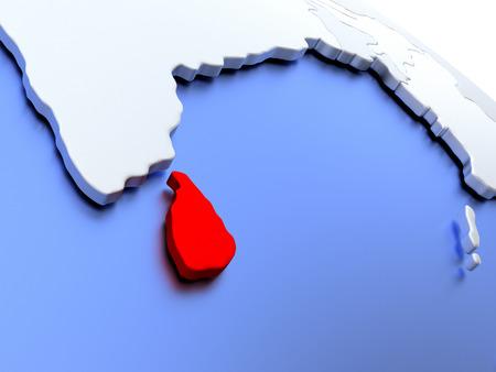 Map of Sri Lanka on elegant silver 3D globe with blue oceans. 3D illustration Stock Photo