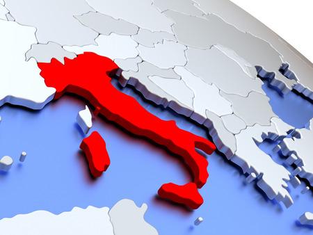 italian politics: Map of Italy on elegant silver 3D globe with blue oceans. 3D illustration