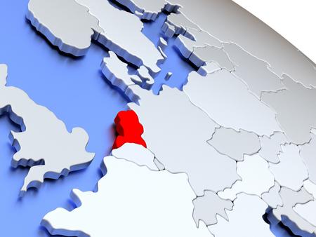 nederland: Map of Netherlands on elegant silver 3D globe with blue oceans. 3D illustration