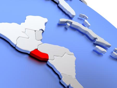 mapa de el salvador: Map of El Salvador on elegant silver 3D globe with blue oceans. 3D illustration Foto de archivo