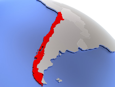 diplomacy: Map of Chile on elegant silver 3D globe with blue oceans. 3D illustration