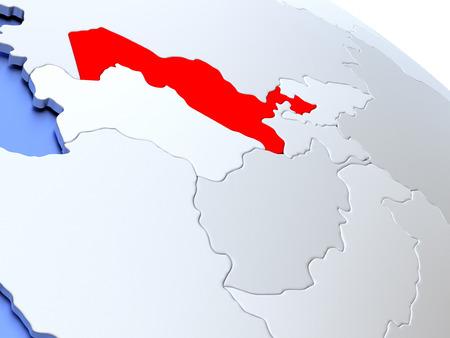 Map of Uzbekistan on elegant silver 3D globe with blue oceans. 3D illustration