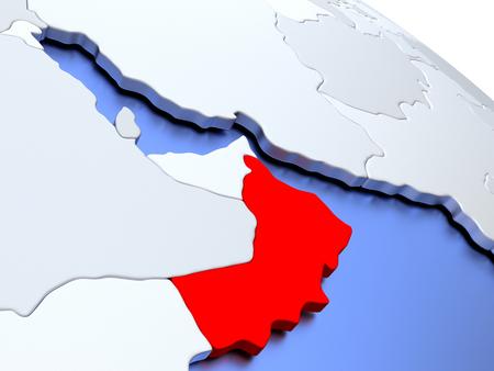 Map of Oman on elegant silver 3D globe with blue oceans. 3D illustration