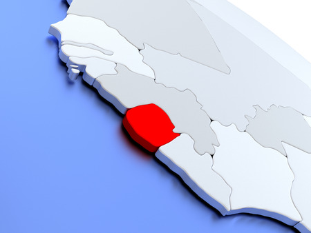 diplomacy: Map of Sierra Leone on elegant silver 3D globe with blue oceans. 3D illustration Stock Photo