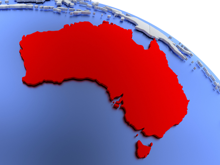 aussie: Map of Australia on elegant silver 3D globe with blue oceans. 3D illustration
