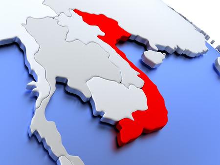 socialist: Map of Vietnam on elegant silver 3D globe with blue oceans. 3D illustration
