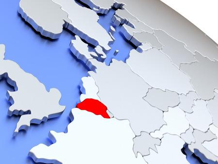 diplomacy: Map of Belgium on elegant silver 3D globe with blue oceans. 3D illustration