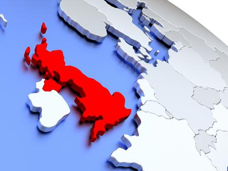 Map of United Kingdom on elegant silver 3D globe with blue oceans. 3D illustration