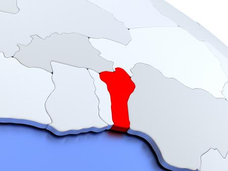 diplomacy: Map of Benin on elegant silver 3D globe with blue oceans. 3D illustration