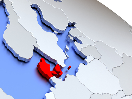 Map of Denmark on elegant silver 3D globe with blue oceans. 3D illustration Stock Photo