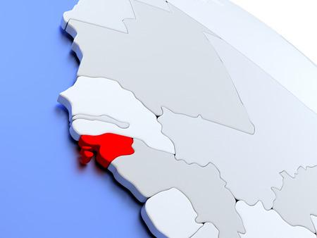 Map of Guinea-Bissau on elegant silver 3D globe with blue oceans. 3D illustration