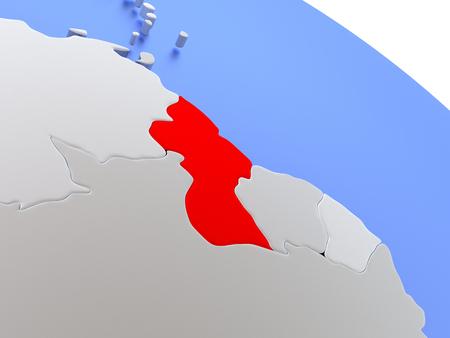 guyanese: Map of Guyana on elegant silver 3D globe with blue oceans. 3D illustration