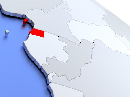 equatorial: Map of Equatorial Guinea on elegant silver 3D globe with blue oceans. 3D illustration