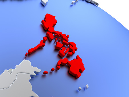 filipino: Map of Philippines on elegant silver 3D globe with blue oceans. 3D illustration