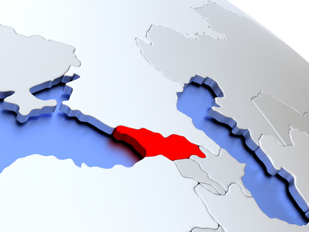 georgian: Map of Georgia on elegant silver 3D globe with blue oceans. 3D illustration