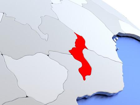 malawian: Map of Malawi on elegant silver 3D globe with blue oceans. 3D illustration Stock Photo