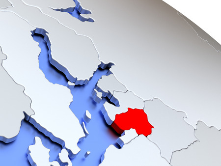 Map of Lithuania on elegant silver 3D globe with blue oceans. 3D illustration