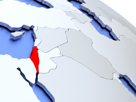 Map of Israel on elegant silver 3D globe with blue oceans. 3D illustration