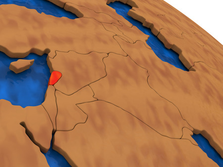 lebanese: Map of Lebanon on wooden globe. 3D illustration