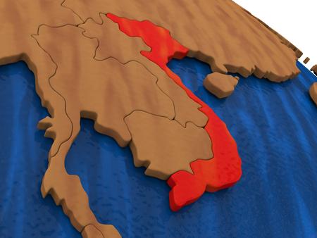 Map of Vietnam on wooden globe. 3D illustration
