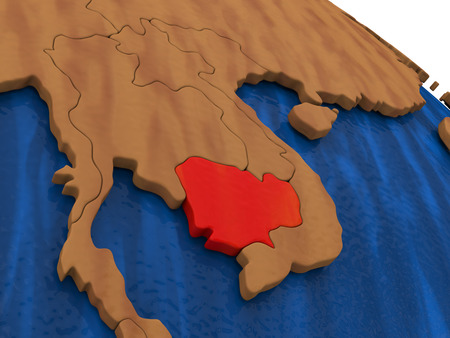 cambodian: Map of Cambodia on wooden globe. 3D illustration