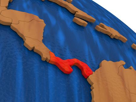 panamanian: Map of Panama on wooden globe. 3D illustration