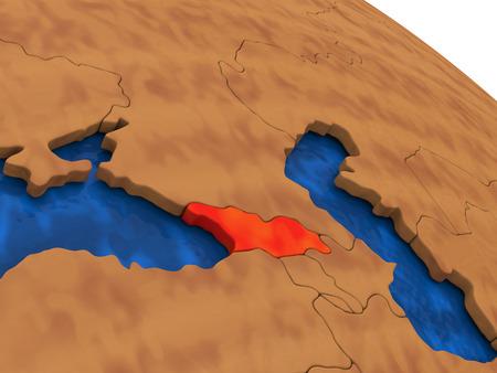 georgian: Map of Georgia on wooden globe. 3D illustration