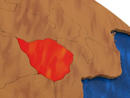 zimbabue: Map of Zimbabwe on wooden globe. 3D illustration