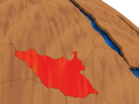 south sudan: Map of South Sudan on wooden globe. 3D illustration Stock Photo