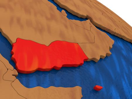 yemen: Map of Yemen on wooden globe. 3D illustration