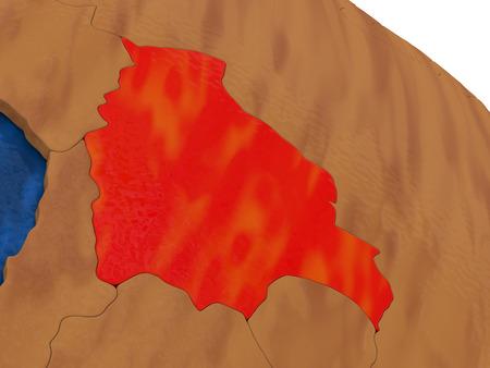 mapa de bolivia: Mapa de Bolivia en el globo de madera. ilustración 3D Foto de archivo