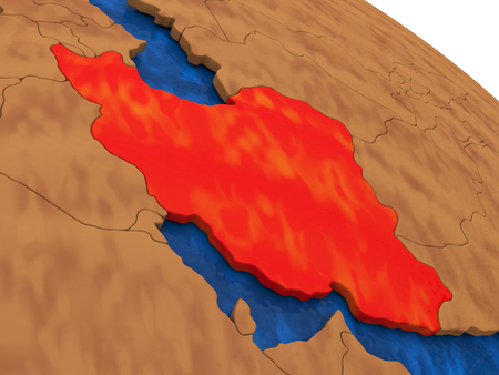 iranian: Map of Iran on wooden globe. 3D illustration