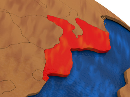 diplomacy: Map of Mozambique on wooden globe. 3D illustration Stock Photo