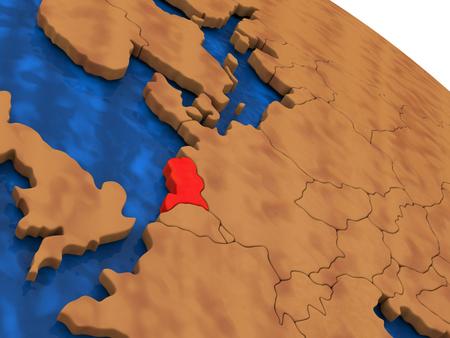 nederland: Map of Netherlands on wooden globe. 3D illustration