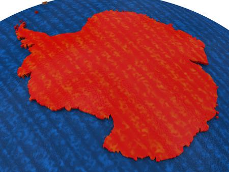 antarctica: Map of Antarctica on wooden globe. 3D illustration